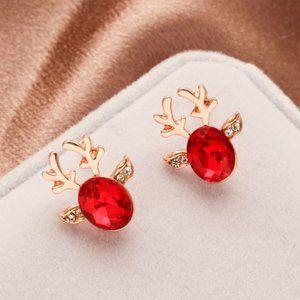 3/$20 Deer Antler Gold & Red Stud Earrings